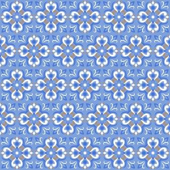 Impressão em azulejo ou padrão de mosaico sem costura de textura cerâmica azul.