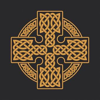 Impressão étnica do t-shirt do ornamento da cruz celta