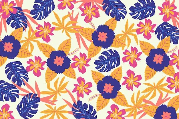 Impressão floral servindo colorida em papel de parede branco