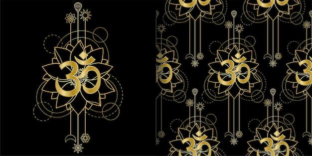 Impressão geométrica de om e lotus e conjunto de padrões sem emenda