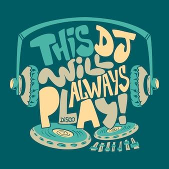Impressão gráfica de t-shirt do fone de ouvido do dj.