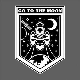 Impressão gráfica monocromática do pino do remendo da etiqueta do vintage com o foguete muito rápido que voa acima da terra para o espaço aberto stars a lua estraga. design de logotipo de mascote de ilustração dos desenhos animados.