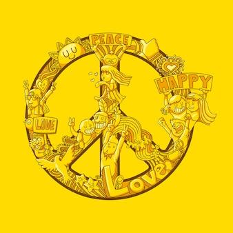 Impressão hippie com símbolo de paz doodle