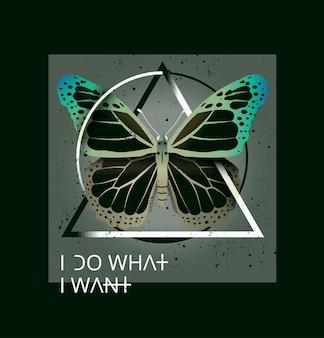 Impressão hipster de camiseta. arte para impressão para a camisa de homem ou mulher com borboleta em forma geométrica.