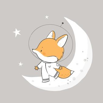 Impressão infantil com animal raposa bonitinha no cosmos