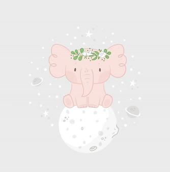 Impressão infantil com elefante bebê fofo na lua