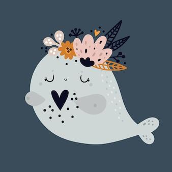 Impressão infantil com ilustração de baleia adorável bebê fofo. sob a água do mar ou oceano animal.