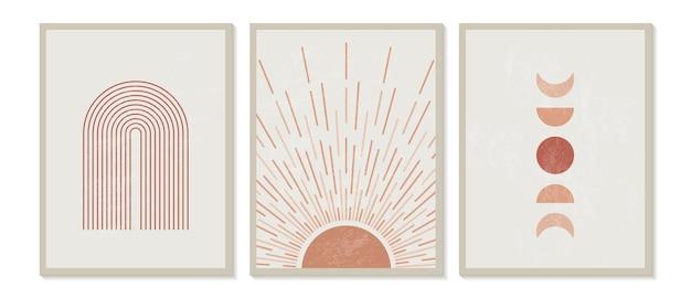 Impressão minimalista moderna de meados do século com elementos geométricos contemporâneos Vetor Premium
