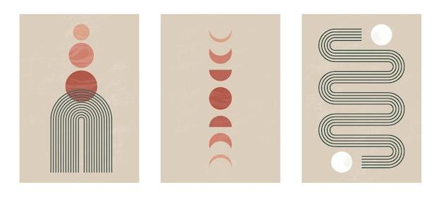 Impressão minimalista moderna de meados do século com elementos geométricos contemporâneos