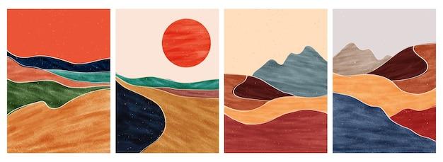Impressão minimalista moderno da arte de meados do século.