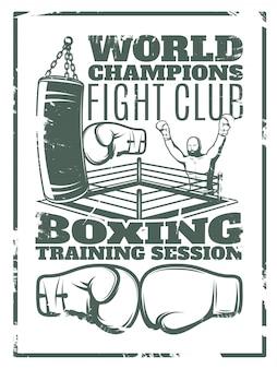 Impressão monocromática de boxe com anel e luvas do saco de pancadas do lutador