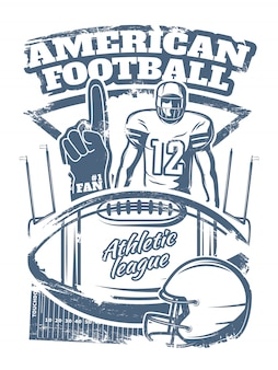 Impressão monocromática de futebol americano com equipamento de esportes de mão de espuma de jogador