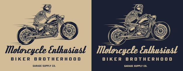 Impressão monocromática de motocicleta vintage com piloto de esqueleto andando de moto