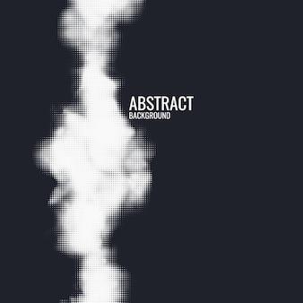 Impressão monocromática raster abstrato vetor meio-tom fundo preto e branco textura de pontos