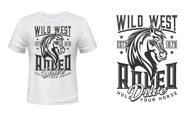 Impressão ocidental selvagem do t-shirt do cavalo