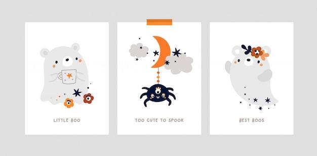 Impressão ou pôster do berçário com ursinho, fantasma bonito. festa de halloween