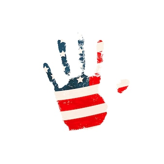 Impressão palmar humana realista com a bandeira dos eua isolada no branco