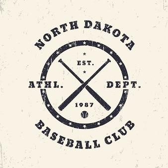 Impressão redonda vintage de beisebol, logotipo, design de camiseta, ilustração