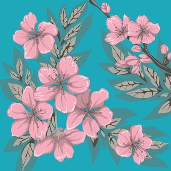 Impressão sakura. ilustração de flores. folhas exóticas. vetor