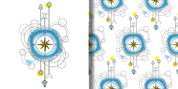 Impressão techno aquarela abstrata e padrão sem emenda com bússola e elementos geométricos