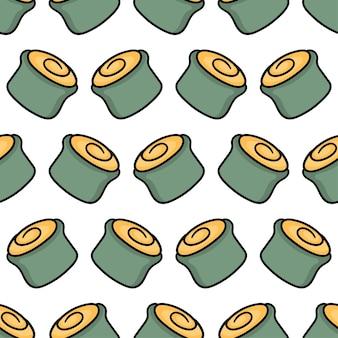 Impressão têxtil norimaki sushi comida japonesa padrão sem emenda. ótimo para tecido vintage de verão, scrapbooking, papel de parede, papel de embrulho. repetir design de fundo padrão