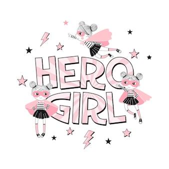 Impressão tifográfica de hero girl com pequenos personagens de desenhos animados de supergirl. tema do super hero rosa dourado