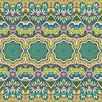Impressão tribal colorida da flor étnica do vetor padrão sem emenda. design de damasco com mandalas verdes