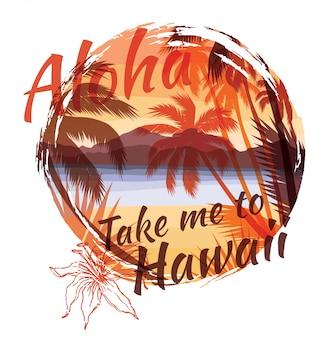 Impressão tropical de verão com slogan para gráfico de t-shirt e outros