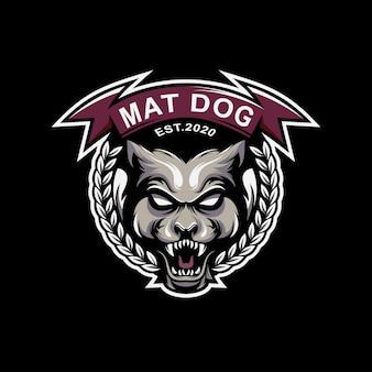 Impressionante cachorro logotipo design premium