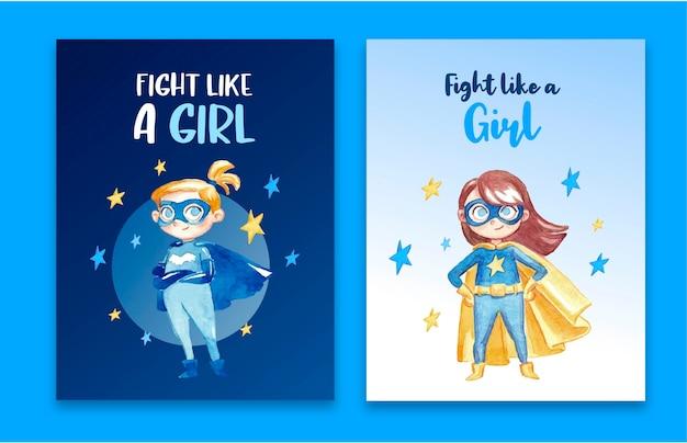 Impressionante coleção de cartão de super-herói feminino