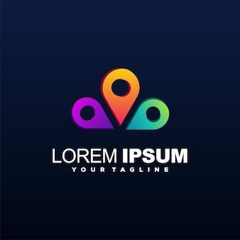 Impressionante design de logotipo de cor gradiente de pino