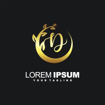 Impressionante design inicial de logotipo de luxo d