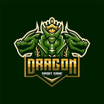 Impressionante dragão esports logotipo modelo premium vector