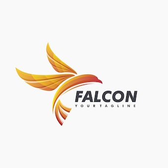Impressionante falcon logo design vector