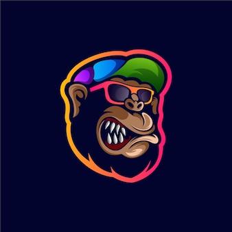 Impressionante gorila remixa design de logotipo colorido de mascote