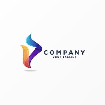 Impressionante letra p logo design vector