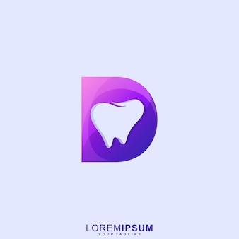 Impressionante logotipo da letra d dental premium