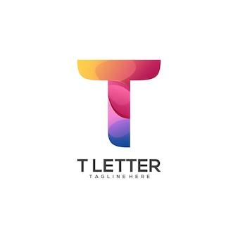 Impressionante logotipo da letra t colorido abstrato