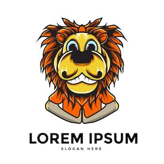 Impressionante logotipo de cabeça de leão em design plano