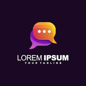 Impressionante logotipo de chat gradiente