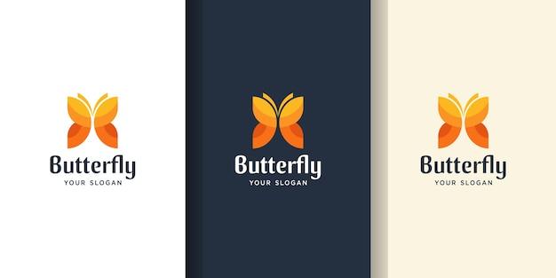 Impressionante logotipo de cor de borboleta. modelos de logotipo e cartão de visita
