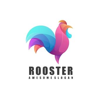 Impressionante logotipo do galo ilustração colorido abstrato
