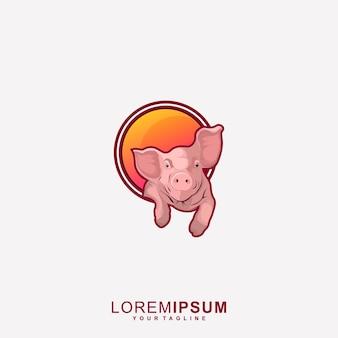 Impressionante logotipo do mascote do porco premium