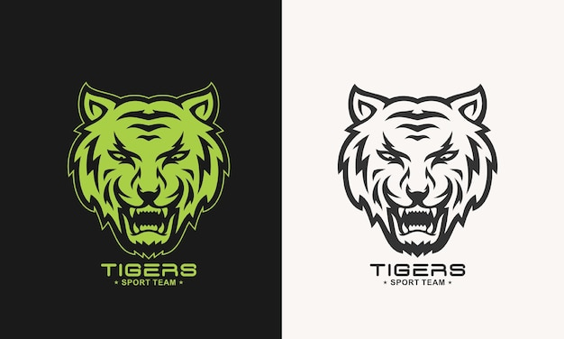 Impressionante logotipo do tigre rujir monocromático