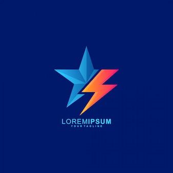 Impressionante logotipo flash star premium