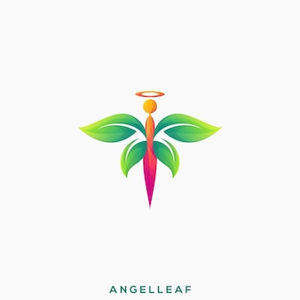 Impressionante logotipo premium da angel leaf