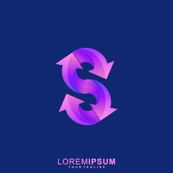 Impressionante logotipo premium da letra s