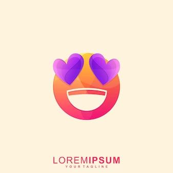 Impressionante logotipo premium do emoticon de amor e sorriso