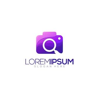 Impressionante logotipo premium do ícone de pesquisa de câmera