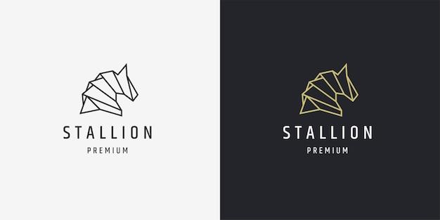 Impressionante modelo de design de ícone de logotipo de linha mono de cavalo